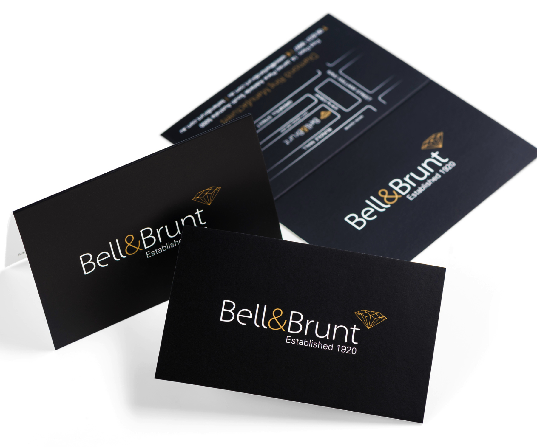 Refreshing a prestige brand.Bell & Brunt is a family-owned manufacturing jeweller that specialises in handcrafted engagement and wedding rings.  With a proud history of almost 100 years in business, Bell & Brunt asked CASTONDESIGN to refresh their brand to better reflect their modern but timeless range of jewellery. Working closely with the family to a tight brief, our brand strategy included redesigning the logo and all visual communication including store signage, corporate stationery, their online presence and advertising.